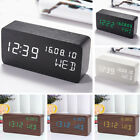 Watch Electronic Cube Wooden Multifunction Voice Control LED Decor Alarm Clock
