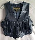 Womens Motorcycle Leather Fringe Vest Large Lace Up Sides