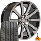 "20x9 Black Chrysler 300 SRT Style Wheels Tires & TPMS 20"" Rims Fit Dodge SXT OEW"