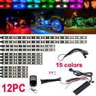 12 Groups Motorcycle LED lighting kit Under Glow NEON Strip Light RGB 15-colors