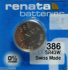 Renata 386 Button Cell Watch SR43W 0% MERCURY Batteries 5 Pcs