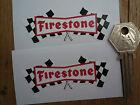 FIRESTONE 50's Chequered Flag Classic Car Bike STICKERS 80mm Pr Race Rally 60's