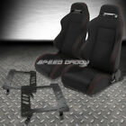 2X TYPE-R BLACK CANVAS BUCKET RACING SEAT+SLIDER+BRACKET FOR 63-72 NOMAD/MALIBU