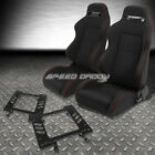 2X TYPE-R BLACK CANVAS BUCKET RACING SEAT+SLIDER+BRACKET FOR 79-98 FORD MUSTANG