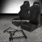 2X TYPE-R BLACK CANVAS BUCKET RACING SEAT+SLIDER+BRACKET FOR 90-93 ACURA INTEGRA