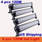 4 PCS 120W LED Light Bar Alloy Spot Flood Combo Work Offroad 4WD SUV Truck /480W