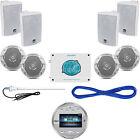 """Lanzar Bluetooth Round Marine Radio, 4""""/6.5"""" Speakers, Wires, 4800W Amp, Antenna"""