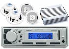 "400W Boat Amplifier,White Marine 6.5"" Speakers,Enrock Marine USB AM FM AUX Radio"