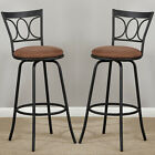 Oval Back Adjustable Metal Swivel Counter Height Bar Stools (Set of 2)