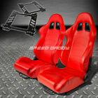 PAIR TYPE-1 RECLINING RED PVC LEATHER RACING SEAT+BRACKET FOR 99-07 FOCUS MARK 1