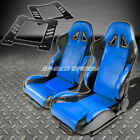 PAIR TYPE-5 RECLINING BLACK BLUE WOVEN RACING SEAT+BRACKET FOR 92-99 E36 2-DR
