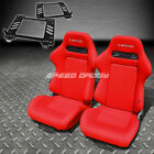 PAIR NRG TYPE-R STYLE RED CLOTH RACING SEAT+BRACKET FOR 98-05 MIATA MX-5 NB