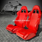 PAIR TYPE-1 RECLINING RED PVC LEATHER RACING SEAT+BRACKET FOR 92-99 E36 2-DOOR