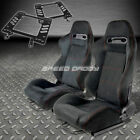 PAIR TYPE-R BLACK SUEDE RED STITCH RACING SEAT+BRACKET FOR 79-98 FORD MUSTANG