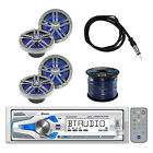 Dual 1DIN Marine Receiver with Bluetooth W/Loudspeakers, Speaker Wire & Antenna