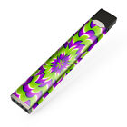 Skin Decal for JUUL Vape / Purple Green Hippy Trippy Psychedelic Motion swirl