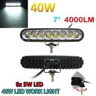 7Inch Bar 4000LM 8X CREE LED 40W Car Light Combo LED 4WD Boat Offroad Work Lamp