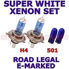 FORD FIESTA 05-09 SET H4 501 SUPER WHITE XENON LIGHT BULBS