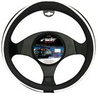 STEERING COVER RED SEAM SIMONI RACING ECO LEATHER BLACK AND WHITE