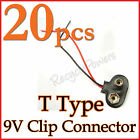 20 X 9 Volt 9V SNAP on Battery Clip Connector T Type S1