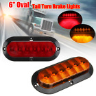 6'' Oval Trailer Truck Red Amber 6 LED Surface Mount Stop Tail Turn Brake Lights