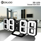 Digoo Digital 3D White LED Wall Clock Alarm Clock Snooze Nightlight 12/24 Hour