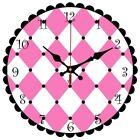 """New 12"""" Yung Jo Pink & White Diamond Blocks Wall Clock"""
