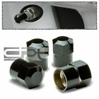 4 PIECES ALUMINUM  COATED TIRE/RIM VALVE AIR PORT DUST COVER STEM CAP BLACK