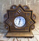 Wooden hand made Retro style table desktop clock with alarm carved from wood
