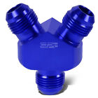 6-AN MALE FLARE Y-BLOCK SPLITTER ADAPTER-2X 6AN BLUE ANODIZE ALUMINUM FITTING