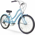 """26"""" Firmstrong Women's CA-520 Seven Speed Beach Cruiser Bicycle, Baby Blue"""