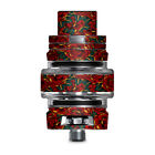 Skin Decal for Smok TFV8 Big Baby V2 Tank / red gold roses tattoo