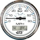 """Faria Chesapeake SS White 4"""" Gauge - 60 MPH GPS Speedometer With LCD. Compass"""