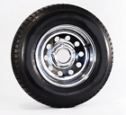 2-Pk Radial Trailer Tire On Rim ST205/75R15 205/75 5 Lug Bolt Chrome Wheel Mod